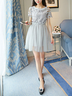 Grey Fit & Flare Above Knee Plus Size Dress for Casual Party Nightclub
