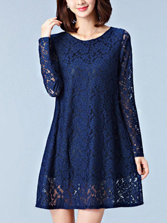 Blue Shift Above Knee Plus Size Lace Long Sleeve Dress for Casual Office Evening Party