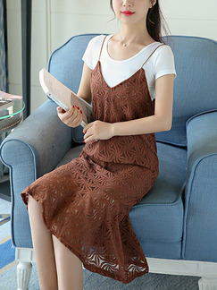 Brown and White Slip Shift Knee Length Plus Size Dress for Casual Office Party