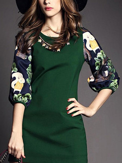 Green Colorful Sheath Above Knee Plus Size Dress for Casual Office Evening