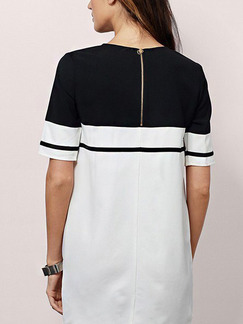 White and Black Shift Above Knee Plus Size Dress for Casual Party