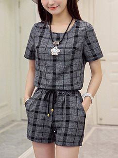Grey and Black Two Piece Shirt Shorts Plus Size Jumpsuit for Casual Office Party