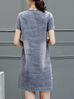 Grey Shift Above Knee Plus Size Denim Dress for Casual Party