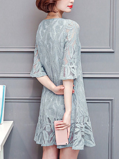 Grey Shift Above Knee Plus Size Lace Dress for Casual Party Evening