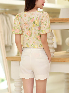 White and Beige Colorful Two Piece Shirt Shorts Plus Size Floral Jumpsuit for Casual Office Evening