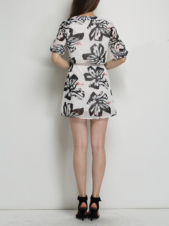 Black and White Shift Above Knee Plus Size Dress for Casual Party