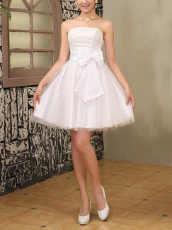up to knees strapless dress white
