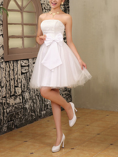 White Fit & Flare Above Knee Strapless Dress for Bridesmaid Prom Cocktail Ball