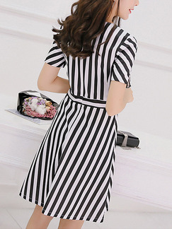 Black and White Stripe Fit & Flare Above Knee Plus Size Dress for Casual Party Office