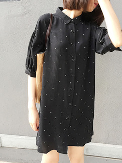 Black Shift Above Knee Shirt Dress for Casual Party