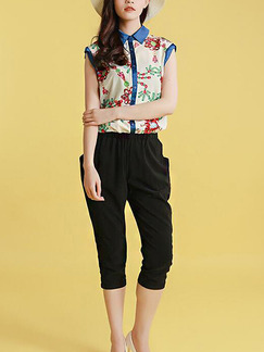 Black and Beige Colorful Two Piece Shirt Pants Jumpsuit for Casual Party