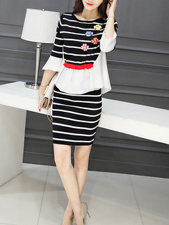Black and White Stripe Two Piece Sheath Above Knee Dress for Casual Party Office Evening