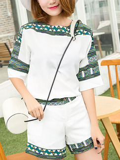 White and Green Two Piece Shirt Shorts Plus Size Jumpsuit for Casual Office Party