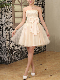 Beige Fit & Flare Above Knee Strapless Dress for Bridesmaid Prom Cocktail Ball