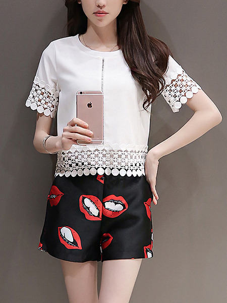 White Black and Red Two Piece Blouse Shorts Plus Size Lace Jumpsuit for Casual Office Evening