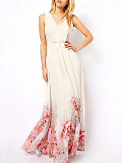 White and Red Maxi Floral V Neck Plus Size Dress for Bridesmaid Cocktail Prom Ball
