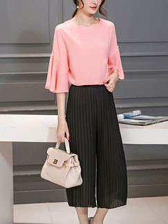 Pink and Black Two Piece Blouse Pants Wide Leg Plus Size Jumpsuit for Casual Office Evening