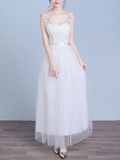 White Maxi Lace Dress for Bridesmaid Prom