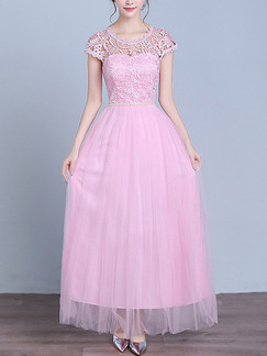Pink Cute Maxi Lace Dress for Bridesmaid Prom