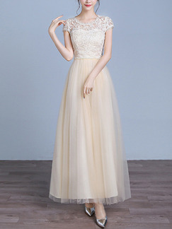 Champagne Maxi Lace Dress for Bridesmaid Prom