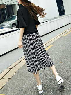 Black and White Stripe Two Piece Shirt Pants Plus Size Jumpsuit for Casual Party