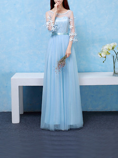 Blue Maxi Lace Floral Dress for Bridesmaid Prom