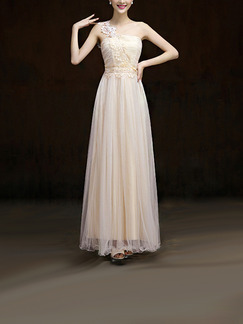 Champagne One Shoulder Maxi Lace Dress for Bridesmaid Prom