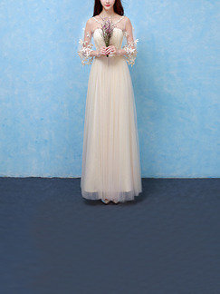 Champagne Maxi Lace Floral Dress for Bridesmaid Prom