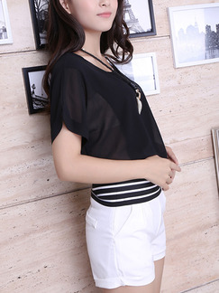 Black and White Two Piece Shirt Shorts Plus Size Jumpsuit for Casual Evening Party