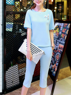 Blue Two Piece Shirt Pants Plus Size Jumpsuit for Casual Office Evening