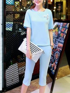 079f0b9561e7 Blue Two Piece Shirt Pants Plus Size Jumpsuit for Casual Office Evening
