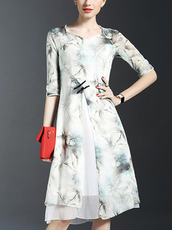 Grey Colorful Fit & Flare Knee Length Plus Size Dress for Casual Party Evening