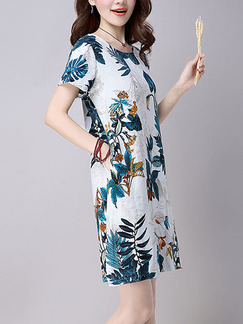 Blue Colorful Shift Above Knee Plus Size Dress for Casual Party