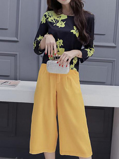 10b42783041 Black and Yellow Two Piece Shirt Pants Plus Size Floral Wide Leg Jumpsuit  for Casual Office