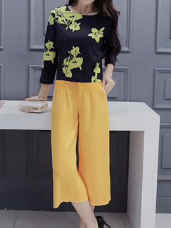Black and Yellow Two Piece Shirt Pants Plus Size Floral Wide Leg Jumpsuit for Casual Office Evening
