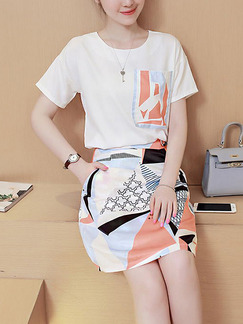 White Colorful Fit & Flare Above Knee Plus Size Dress for Casual Office Party