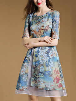 Blue Colorful Fit & Flare Above Knee Plus Size Floral Dress for Casual Party Evening