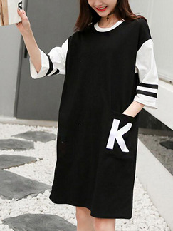 White and Black Shift Midi T-Shirt Dress for Casual Party