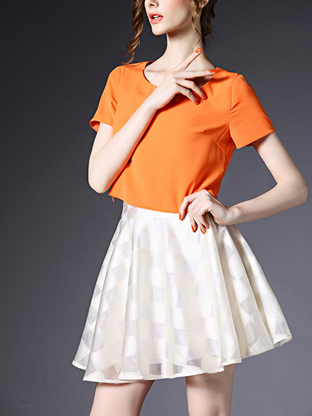 Orange and White Fit & Flare Above Knee Plus Size Dress for Casual Party