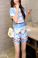 Blue Colorful Two Piece Shirt Shorts Plus Size Jumpsuit for Casual Party Evening