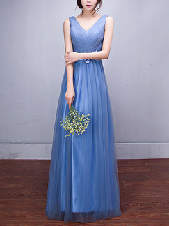 Blue Fit & Flare Maxi Plus Size V Neck Dress for Bridesmaid Prom Semi Formal
