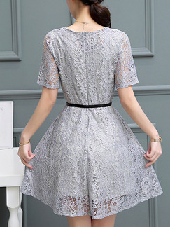 Grey Fit & Flare Above Knee Plus Size Lace Dress for Casual Party Office Evening