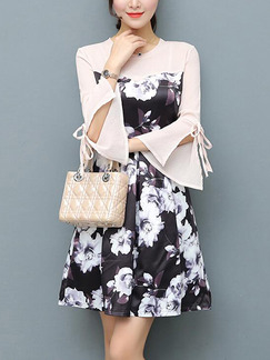 Black White Colorful Fit & Flare Above Knee Plus Size Floral Long Sleeve Dress for Casual Office Party Evening