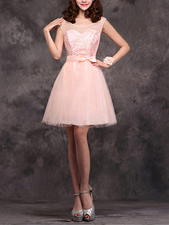 Pink Fit & Flare Above Knee Plus Size Dress for Bridesmaid Prom Semi Formal