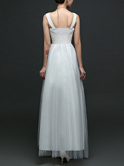 White Maxi V Neck Lace Dress for Bridesmaid Prom