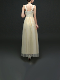 Champagne Maxi V Neck Lace Dress for Bridesmaid Prom