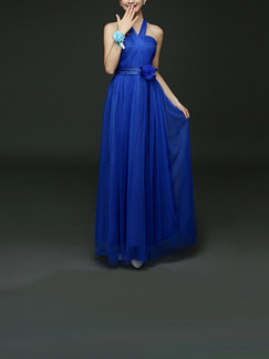 Blue Maxi Dress for Bridesmaid Prom