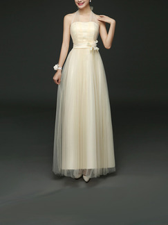 Champagne Maxi Dress for Bridesmaid Prom
