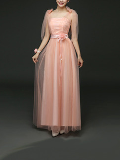 Pink Maxi Dress for Bridesmaid Prom