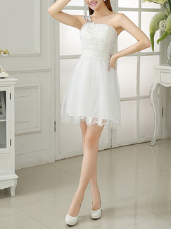 White Fit & Flare One Shoulder Above Knee Dress for Bridesmaid Prom